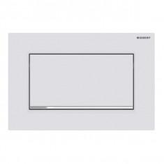 Plaque de déclenchement blanc mat laqué, chromé brillant Sigma30 pour rinçage interrompable, à visser - Geberit