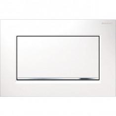 Plaque de déclenchement blanc, chromé brillant Sigma30 pour rinçage interrompable, à visser - Geberit