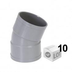 Lot de 10 coudes PVC 22°30 FF Ø40 ou Ø50 ou Ø100 - NF M1 - First Plast