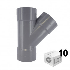 Lot de 10 raccords PVC - Culotte 45° Femelle-Femelle Ø32 ou Ø40 ou Ø50 ou Ø100 FIRST-PLAST