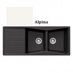 Évier de cuisine Cristalite Opus - 1160 x 500 x 195 mm - sous-meuble 80 cm - Coloris Alpina - Aquatop