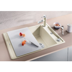 Évier de cuisine Axia III 45S - Gris Rocher - sous-meuble 45 cm - L 780 x l 510 x P 185 mm + planche en verre - Blanco