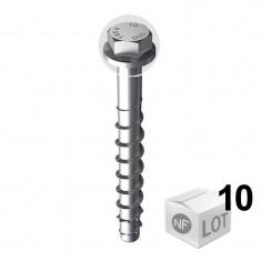 Lot de 10 vis béton ULTRACUT FBS II Ø14 - Tête hexagonale - Disponible en 2 Longueurs