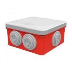Boite dérivation étanche rouge OPTIBOX tétines IP55 80x80x42mm