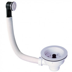 Bonde évier Ø90 mm NF à panier blanc avec trop-plein - Wirquin Pro 30720436