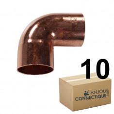 Lot de 10 coudes cuivre à souder FF 90°petit rayon Ø18