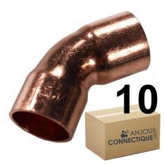 Lot de 10 coudes cuivre à souder FF 45° grand rayon Ø22