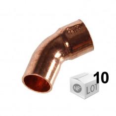 Lot de 10 coudes cuivre à souder MF 45°