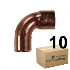Lot de 10 coudes cuivre à souder MF 90° grand rayon Ø22