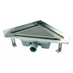 Caniveau d'angle Solusec pour douche - Grille inox 270x382 mm
