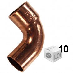 Lot de 10 coudes cuivre à souder MF 90°