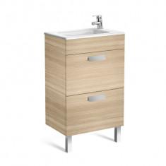 Meuble Unik DEBBA Compact 500 - 2 tiroirs + lavabo - Chêne texturé