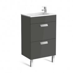 Meuble Unik DEBBA Compact 500 - 2 tiroirs + lavabo - Gris anthracite