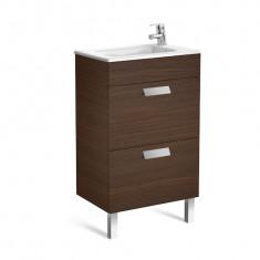 Meuble Unik DEBBA Compact 500 - 2 tiroirs + lavabo - Wengé texturé