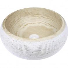 Vasque en pierre ronde à poser Sable rayé Ø42cm - Ondyna UR2405