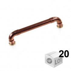 """Lot de 20 poignées de meuble cuivre """"Industriel"""" - Entraxe 128 cm Ø12 - Arcanaute"""