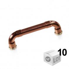 """Lot de 10 Poignées de meuble cuivre """"Industriel"""" - Entraxe 96mm Ø12 - Arcanaute"""
