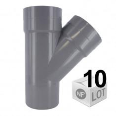 Lot de 10 raccords PVC - Culotte 45° Mâle-Femelle Ø32 ou Ø40 ou Ø50 ou Ø100 FIRST-PLAST