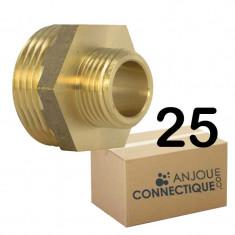 """Lot de 25 Mamelons Laiton Réduit mâle/mâle 1/2""""-3/8"""" (15/21-12/17) - Arcanaute"""