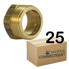 """Lot de 25 Mamelons Laiton Femelle/Mâle Réduit 3/4""""-1/2"""" (20/27-15/21) - Arcanaute"""