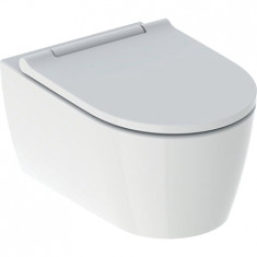 WC suspendu turboflush sans bride ONE caréné avec abattant frein de chute inserts blanc - Geberit