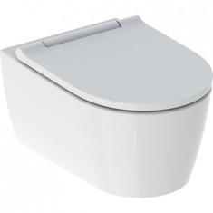 WC suspendu turboflush sans bride ONE caréné avec abattant frein de chute inserts chromé - Geberit
