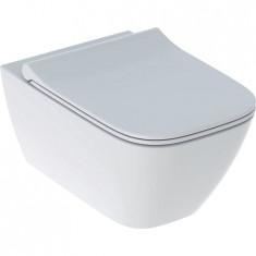 WC suspendu rimfree sans bride SMYLE caréné avec abattant frein de chute - Geberit