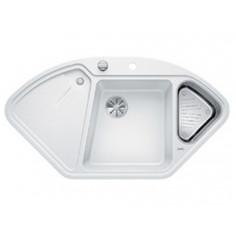 Évier de cuisine BlancoDelta II - Blanc - sous-meuble 90x90x80 cm - L 1057 x l 575 x P 183/120 mm + vide-sauce - Blanco
