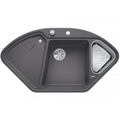 Évier de cuisine BlancoDelta II - Gris Rocher - sous-meuble 90x90x80 cm - L 1057 x l 575 x P 183/120 mm + vide-sauce - Blanco