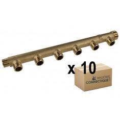 """Lot de 10 x Collecteurs mâle femelle 3/4"""" - 6 départs 1/2"""" (15/21) - Entraxe 50mm - Arcanaute"""