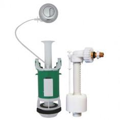 Ensemble NF mécanisme universel à poussoir double débit et robinet flotteur REGIPLAST