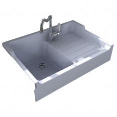 Évier de cuisine à poser en céramique IMPERIAL - L 900 x l 610 x P 240 mm - Blanc