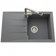 Évier de cuisine Gris Acier MAJORQUE - L 810 X l 500 X P 210 mm - sous-meuble 50 cm - Aquatop