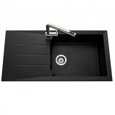 Évier de cuisine granité noir MAJORQUE - L 1000 x l 500 mm X P 215 - sous-meuble 50 cm - Aquatop