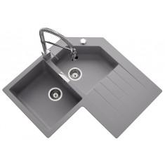 Évier de cuisine d'angle Cristalite PRIMUS - L 840 x l 840 x P 195 mm - sous-meuble de 90 cm - Croma