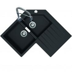 Évier de cuisine d'angle Cristalite PRIMUS - L 840 x l 840 x P 195 mm - sous-meuble de 90 cm - Nero