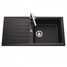 Évier de cuisine Noir SLAVE - L 1000 x l 500 x P 185 mm - sous-meuble 60 cm - Aquatop