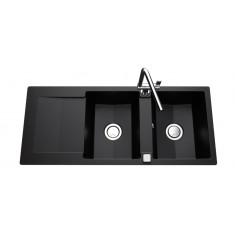 Évier de cuisine Cristalite EPURE - L 1160 x l 500 x P 181 mm - sous-meuble 80 cm - Nero