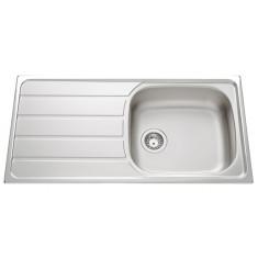 Évier de cuisine en Inox lisse Montebello - L 1000 x l 500 x P 160 mm - sous-meuble 60 cm - Aquatop
