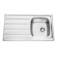Évier de cuisine en Inox lisse Montebello - L 860 x l 500 x P 160 mm - sous-meuble de 45 cm - Aquatop