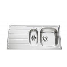 Évier de cuisine Inox lisse Montebello avec vide sauce - L 1000 x l 500 x P 160 mm - sous-meuble de 60 cm - Aquatop