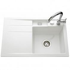 Évier de cuisine blanc brillant BELA - égouttoir à droite - L 780 x l 510 x P 200 mm - sous-meuble 45 cm - Aquatop