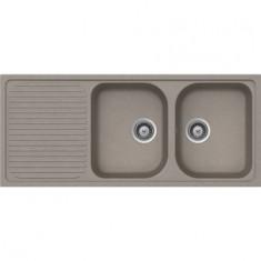 Évier de cuisine Cristalite Scandinave - 1160 x 500 x 205 mm - sous-meuble 80 cm - Coloris Béton Taupe - Aquatop