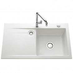 Évier de cuisine blanc brillant STEMA égouttoir à droite - L 900 x l 510 x P 200 mm - sous-meuble 60 cm - Aquatop