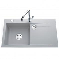 Évier de cuisine aluminium STEMA égouttoir à gauche - L 900 x l 510 x P 200 mm - sous-meuble 60 cm - Aquatop