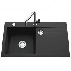 Évier de cuisine gris anthracite STEMA égouttoir à gauche - L 900 x l 510 x P 200 mm - sous-meuble de 60 cm - Aquatop