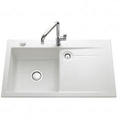 Évier de cuisine blanc STEMA égouttoir à gauche - L 900 x l 510 x P 200 mm - Bsous-meuble 60 cm - Aquatop
