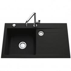 Évier de cuisine nigra STEMA égouttoir à gauche - L 900 x l 510 x P 200 mm - sous-meuble 60 cm - Aquatop