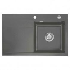 Évier de cuisine Céramique STEMA gris anthracite - égouttoir à droite - L 800 x l 510 x P 200 mm - Aquatop