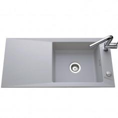 Évier de cuisine aluminium mat SIRO - L 1000 x l 490 x P 200 mm - sous-meuble 60 cm - Aquatop